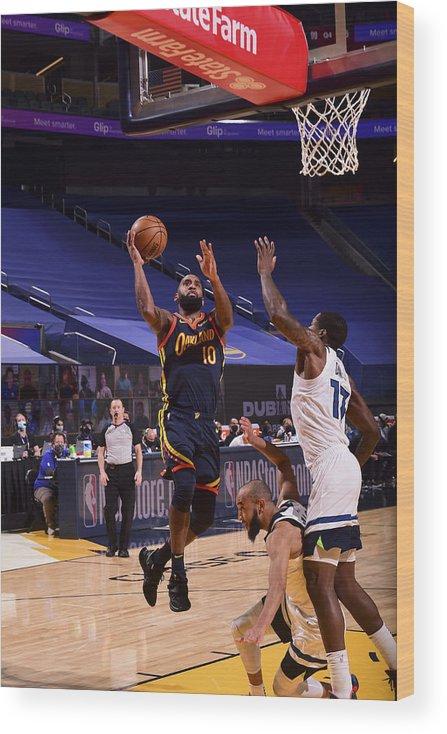 San Francisco Wood Print featuring the photograph Minnesota Timberwolves v Golden State Warriors by Noah Graham