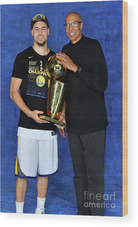 Playoffs Wood Print featuring the photograph Mychal Thompson and Klay Thompson by Jesse D. Garrabrant