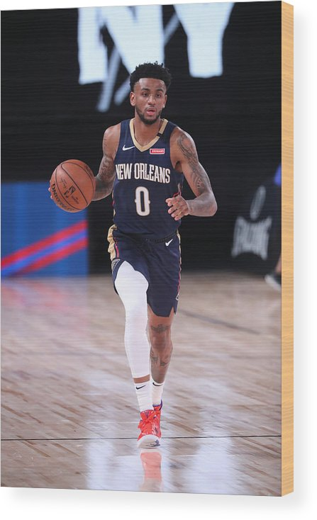 Nba Pro Basketball Wood Print featuring the photograph New Orleans Pelicans v Brooklyn Nets by Joe Murphy