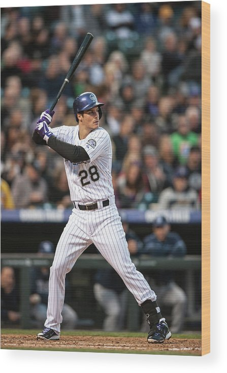 National League Baseball Wood Print featuring the photograph Nolan Arenado by Dustin Bradford