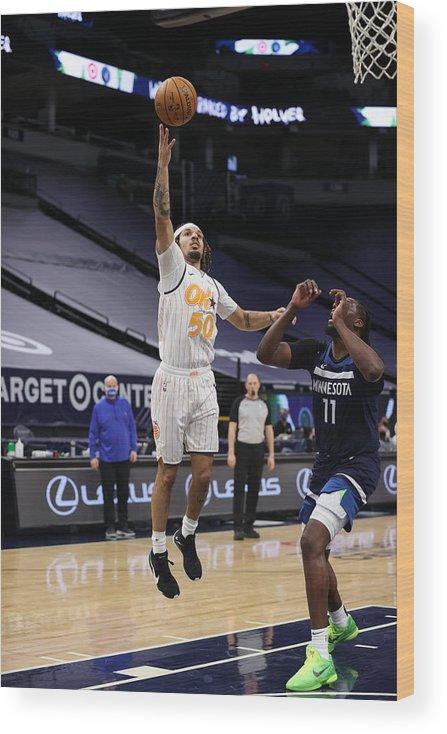 Nba Pro Basketball Wood Print featuring the photograph Orlando Magic v Minnesota Timberwolves by Jordan Johnson