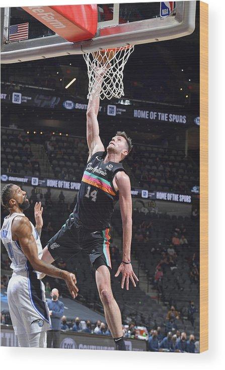 Nba Pro Basketball Wood Print featuring the photograph Orlando Magic vs. San Antonio Spurs by Logan Riely