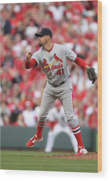 Great American Ball Park Wood Print featuring the photograph Pat Neshek by John Grieshop