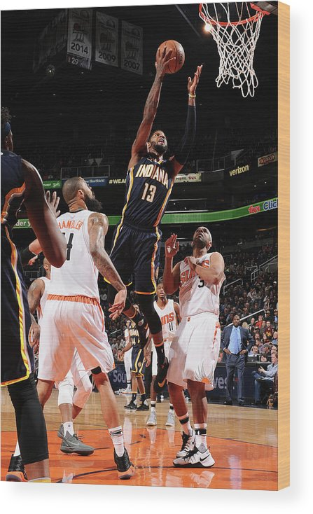 Nba Pro Basketball Wood Print featuring the photograph Paul George by Barry Gossage