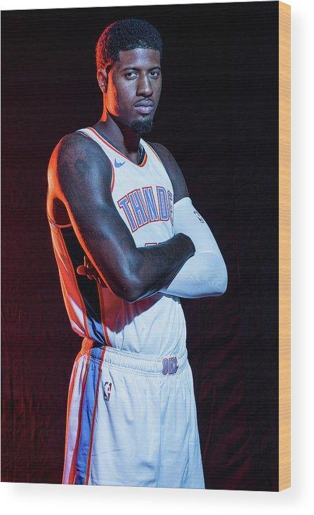 Media Day Wood Print featuring the photograph Paul George by Michael J. Lebrecht Ii