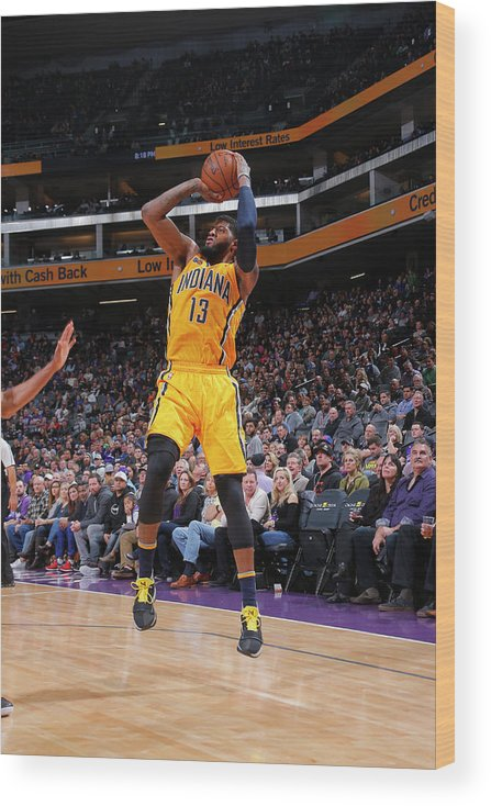 Nba Pro Basketball Wood Print featuring the photograph Paul George by Rocky Widner