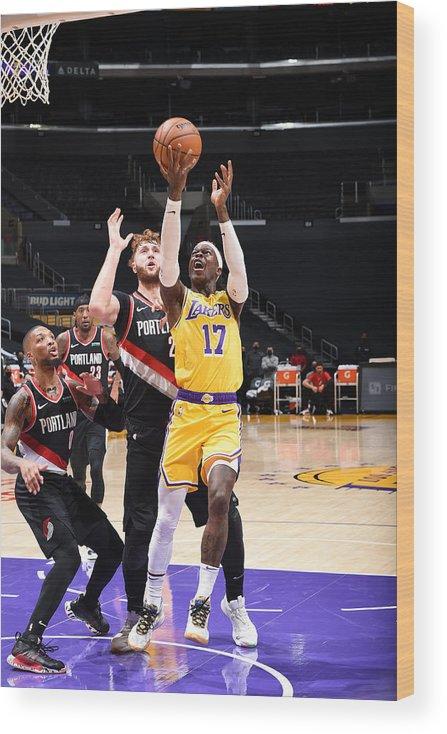 Nba Pro Basketball Wood Print featuring the photograph Portland Trail Blazers v LA Lakers by Adam Pantozzi
