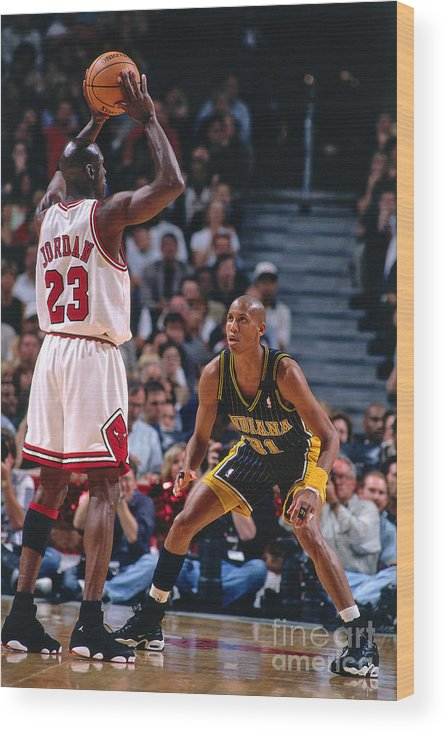 Chicago Bulls Wood Print featuring the photograph Reggie Miller and Michael Jordan by Nathaniel S. Butler