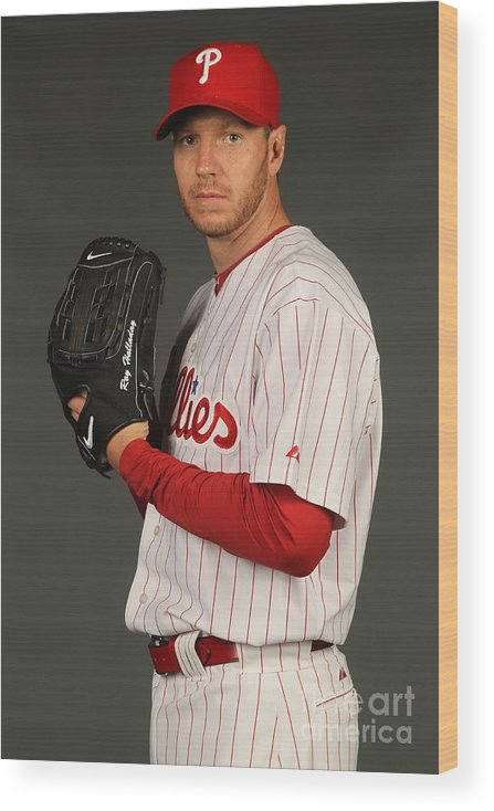 Media Day Wood Print featuring the photograph Roy Halladay by Nick Laham