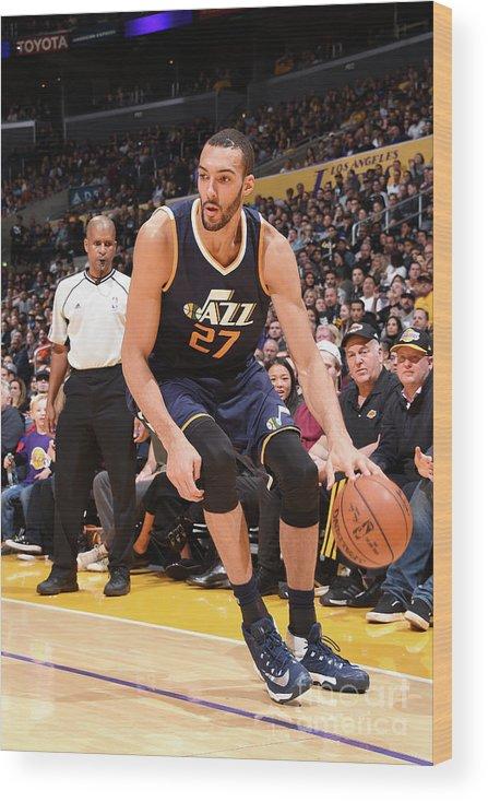 Nba Pro Basketball Wood Print featuring the photograph Rudy Gobert by Andrew D. Bernstein