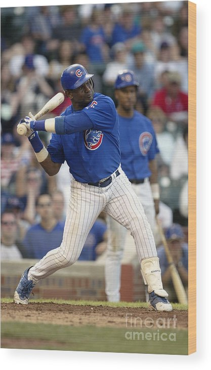 Motion Wood Print featuring the photograph Sammy Sosa by Ron Vesely