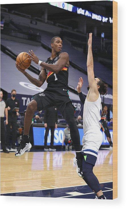 Nba Pro Basketball Wood Print featuring the photograph San Antonio Spurs v Minnesota Timberwolves by Jordan Johnson