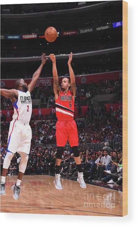 Nba Pro Basketball Wood Print featuring the photograph Shabazz Napier by Juan Ocampo