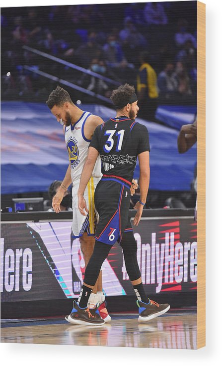 Nba Pro Basketball Wood Print featuring the photograph Stephen Curry and Seth Curry by Jesse D. Garrabrant
