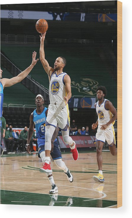 Nba Pro Basketball Wood Print featuring the photograph Stephen Curry by Gary Dineen
