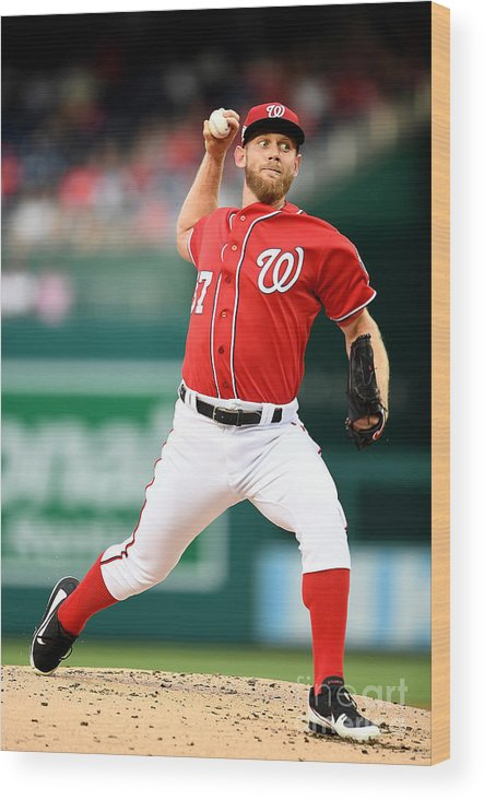 Second Inning Wood Print featuring the photograph Stephen Strasburg by Greg Fiume