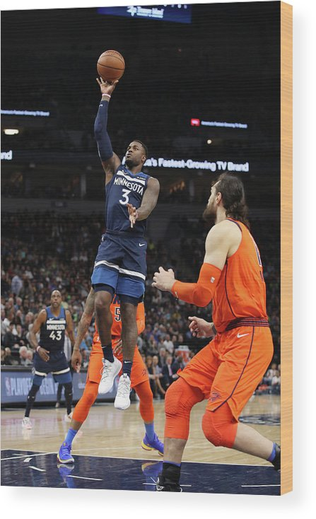 Nba Pro Basketball Wood Print featuring the photograph Steven Adams by Jordan Johnson