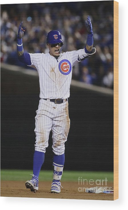 Playoffs Wood Print featuring the photograph Terrance Gore and Javier Baez by Jonathan Daniel