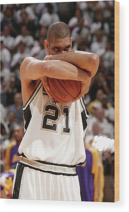 Nba Pro Basketball Wood Print featuring the photograph Tim Duncan by Garrett Ellwood