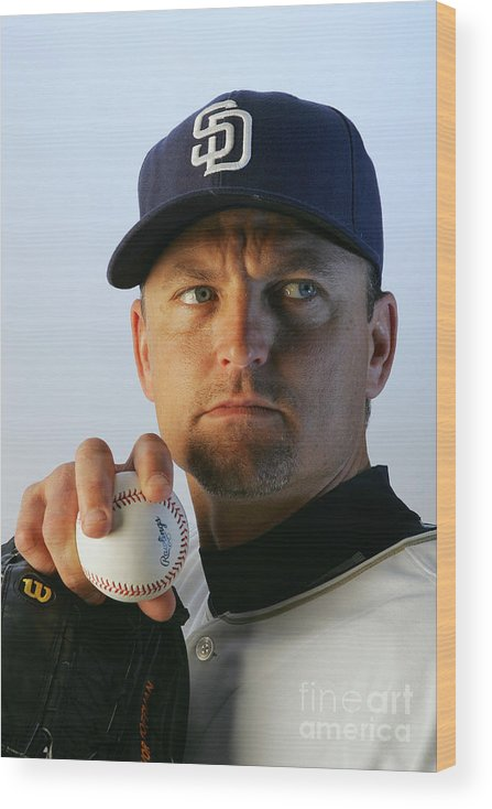 Media Day Wood Print featuring the photograph Trevor Hoffman by Jeff Gross