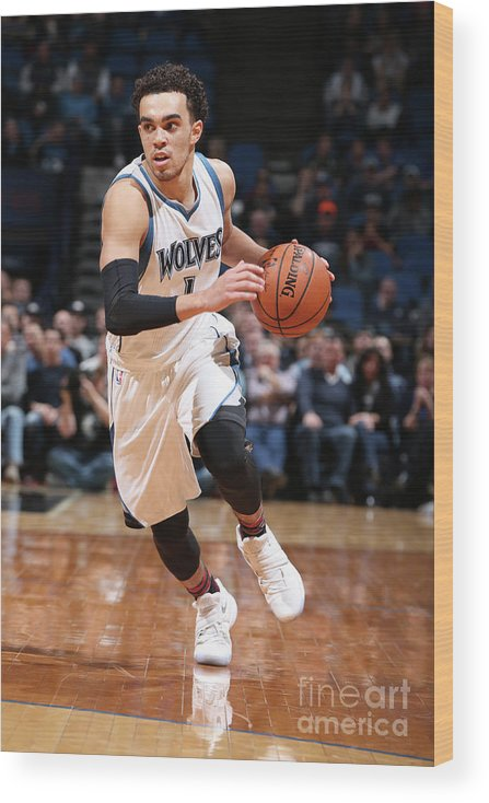 Nba Pro Basketball Wood Print featuring the photograph Tyus Jones by David Sherman