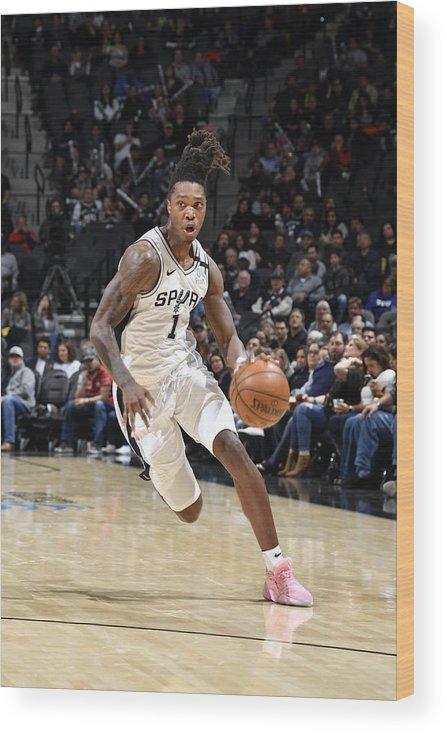 Nba Pro Basketball Wood Print featuring the photograph Utah Jazz v San Antonio Spurs by Logan Riely