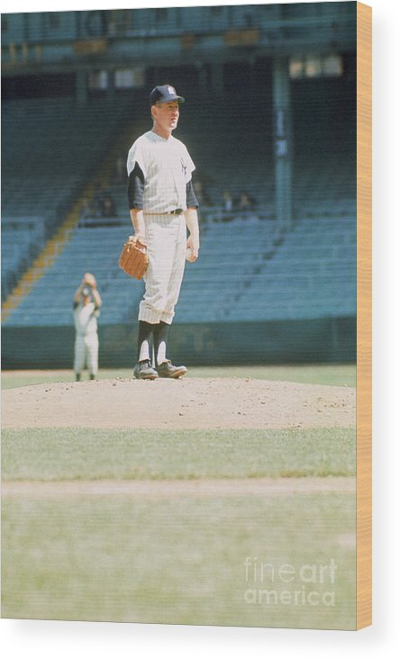 American League Baseball Wood Print featuring the photograph Whitey Ford by Louis Requena
