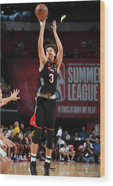 Nba Pro Basketball Wood Print featuring the photograph Zach Collins by Garrett Ellwood
