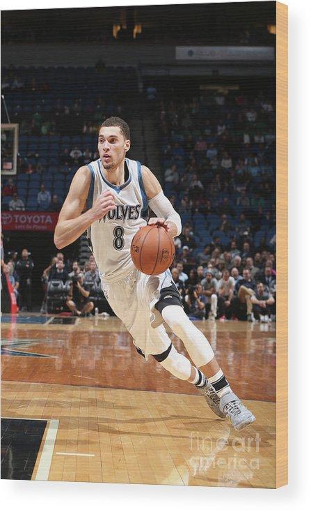 Nba Pro Basketball Wood Print featuring the photograph Zach Lavine by David Sherman