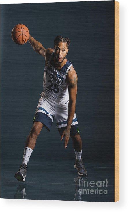 Nba Pro Basketball Wood Print featuring the photograph Derrick Rose by David Sherman