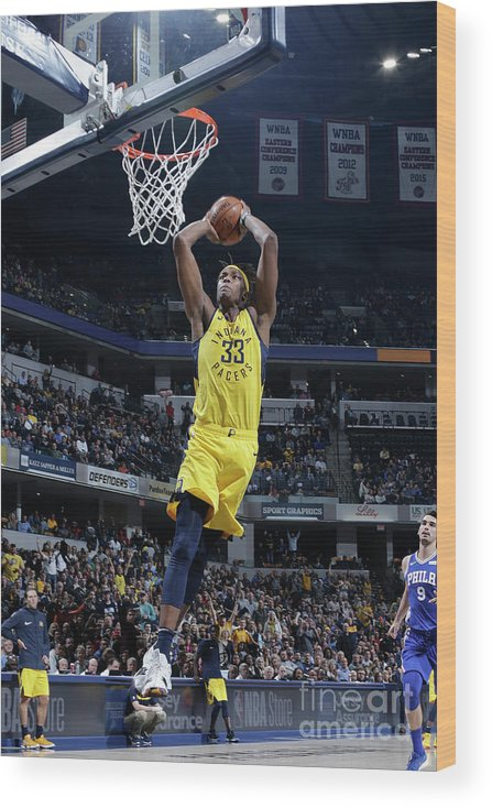 Nba Pro Basketball Wood Print featuring the photograph Myles Turner by Ron Hoskins