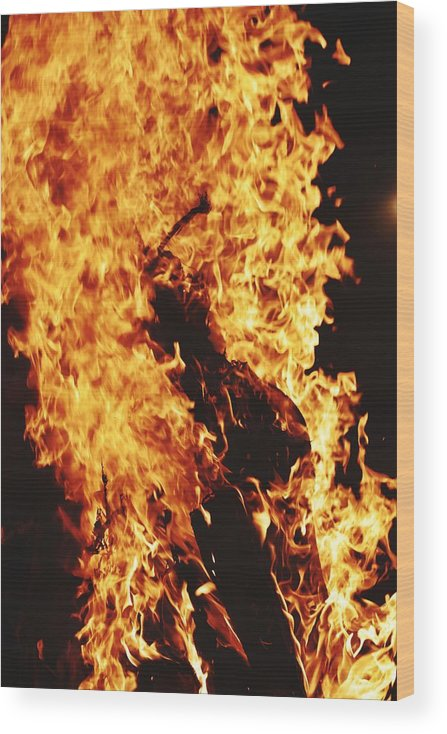 Campfire Wood Print featuring the photograph Closeup of Fire at time of festival by Ravindra Kumar