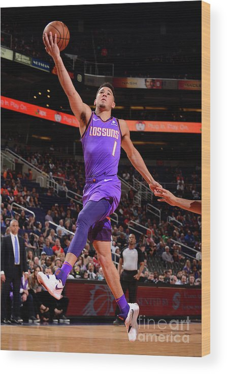 Nba Pro Basketball Wood Print featuring the photograph Devin Booker by Barry Gossage