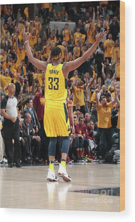 Playoffs Wood Print featuring the photograph Myles Turner by Ron Hoskins