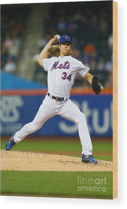 Second Inning Wood Print featuring the photograph Noah Syndergaard by Mike Stobe