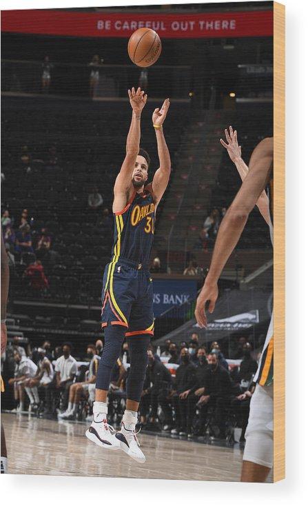 Nba Pro Basketball Wood Print featuring the photograph Stephen Curry by Garrett Ellwood