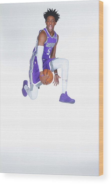 Media Day Wood Print featuring the photograph De'aaron Fox by Rocky Widner