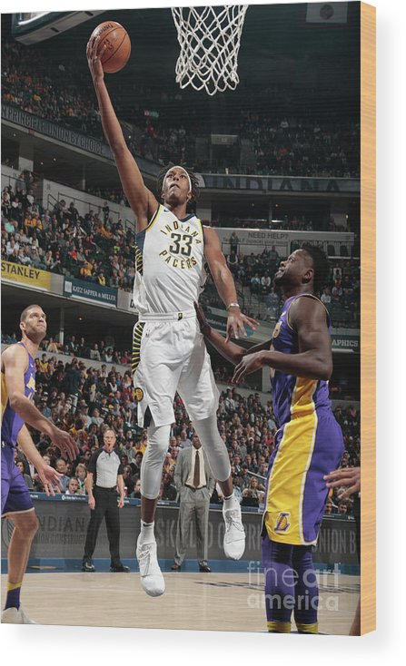 Sports Ball Wood Print featuring the photograph Myles Turner by Ron Hoskins