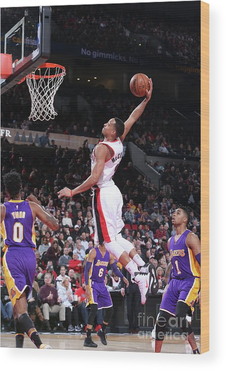 Nba Pro Basketball Wood Print featuring the photograph C.j. Mccollum by Sam Forencich