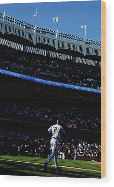 American League Baseball Wood Print featuring the photograph Derek Jeter by Elsa