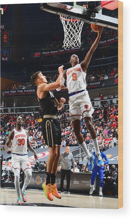 Atlanta Wood Print featuring the photograph 2021 NBA Playoffs - New York Knicks v Atlanta Hawks by Scott Cunningham