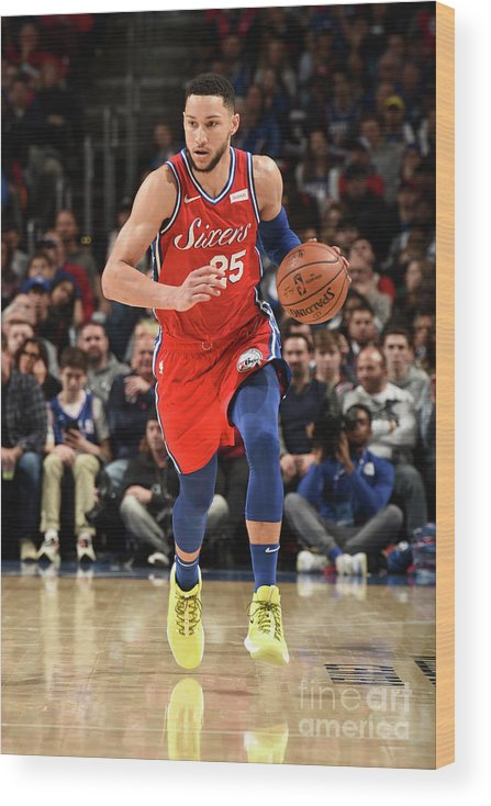 Nba Pro Basketball Wood Print featuring the photograph Ben Simmons by David Dow