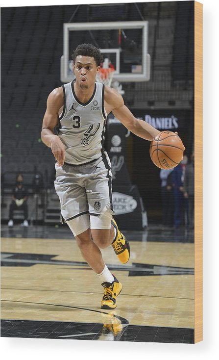 Keldon Johnson Wood Print featuring the photograph Boston Celtics v San Antonio Spurs by Logan Riely