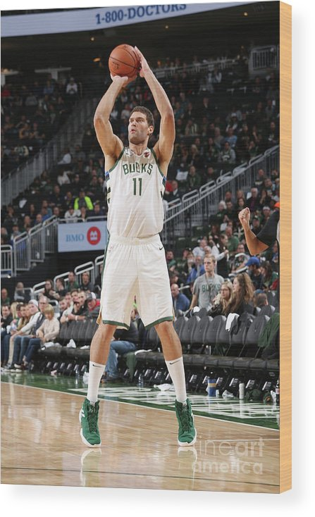Nba Pro Basketball Wood Print featuring the photograph Brook Lopez by Gary Dineen