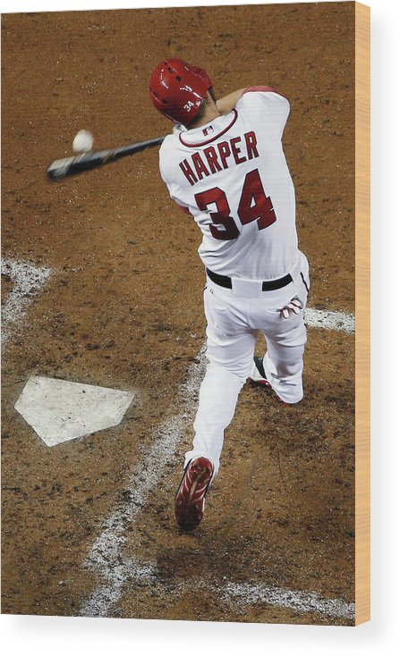 American League Baseball Wood Print featuring the photograph Bryce Harper by Rob Carr
