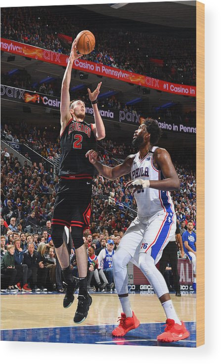 Nba Pro Basketball Wood Print featuring the photograph Chicago Bulls v Philadelphia 76ers by Jesse D. Garrabrant