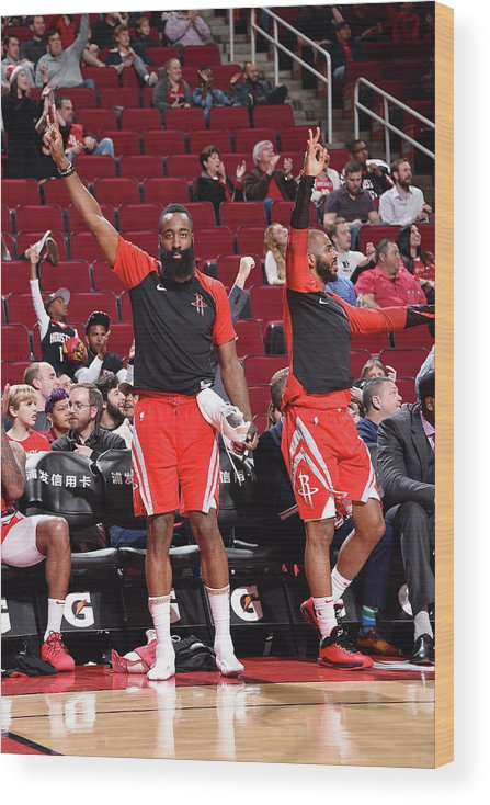 Nba Pro Basketball Wood Print featuring the photograph Chris Paul and James Harden by Bill Baptist
