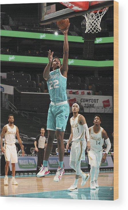 Nba Pro Basketball Wood Print featuring the photograph Dallas Mavericks v Charlotte Hornets by Kent Smith