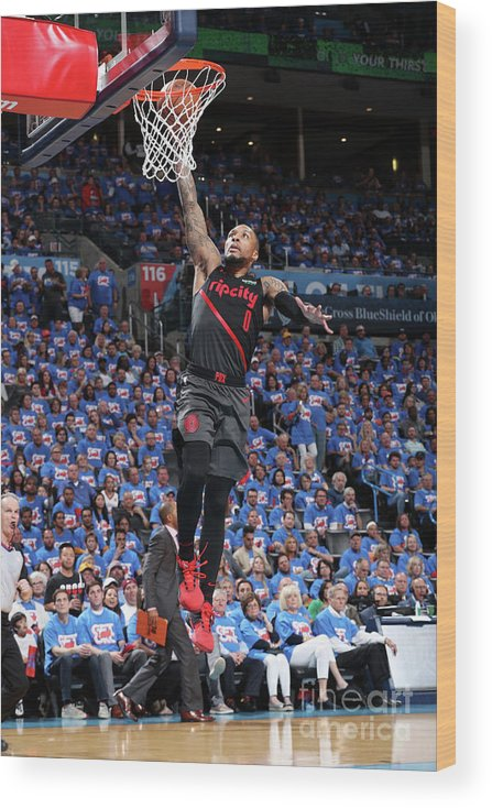 Playoffs Wood Print featuring the photograph Damian Lillard by Joe Murphy