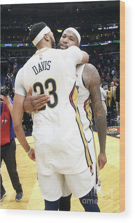 Smoothie King Center Wood Print featuring the photograph Demarcus Cousins and Anthony Davis by Layne Murdoch